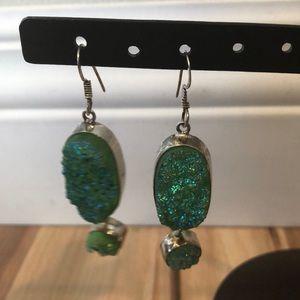 Jewelry - Druzy Quartz (Green) drop Earrings